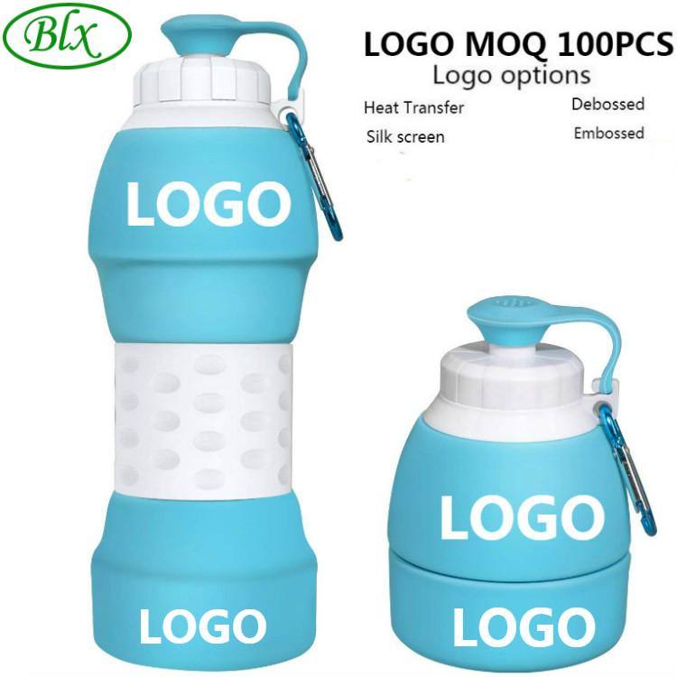 Logo personalizado 20oz 580ml ecológico Bpa gratis deportes viaje portátil plegable botella de agua de silicona plegable con filtro
