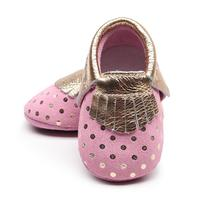 Lovely pink genuine leather hard sole newborn baby girls shoes