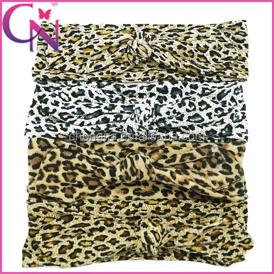Fashion Leopard Bunny Ears Kids Elastic Headbands CNHD-1506045-6