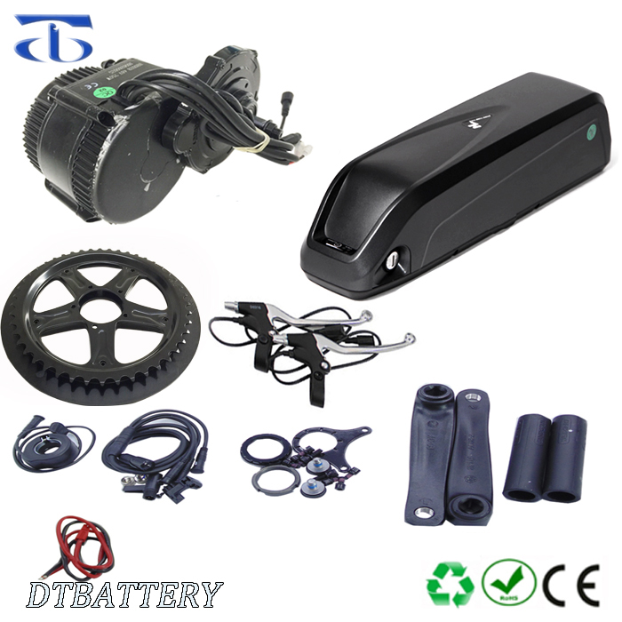 bafang 8fun e bike kits BBS 02 48v 750w mid drive motor kits with hailong bottle 48V 14.5Ah li-ion battery and charger, Black