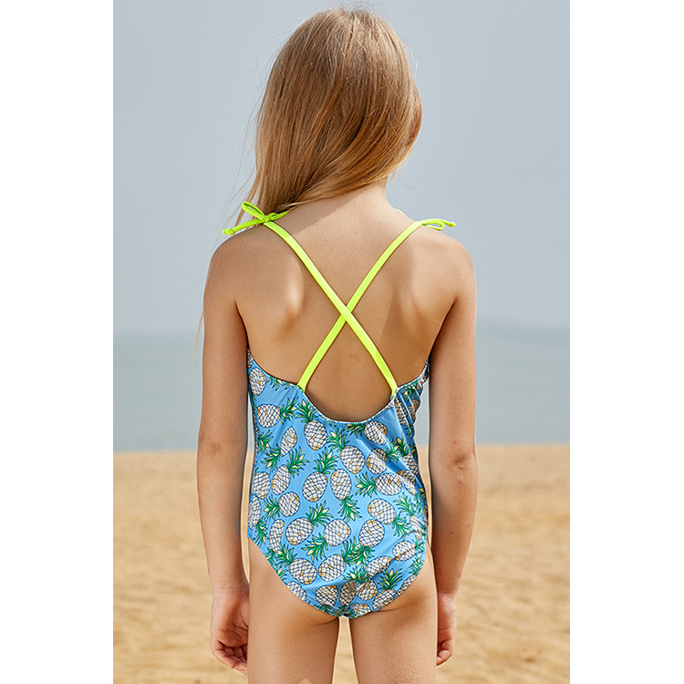 Swimwear Summer Lace Kids Baby Girls Bikini Suit Sunscreen Quick-drying Swimsuit Sling Swan Swimwear Bathing One-piece Swimming Clothes High Quality Materials