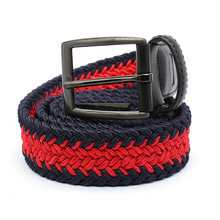Unisex elastic causal braided belts mixed black and red waistbands