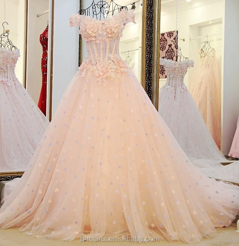 Blush Pink Wedding Dresses 3d Flowers High Quality Fishbone Corset