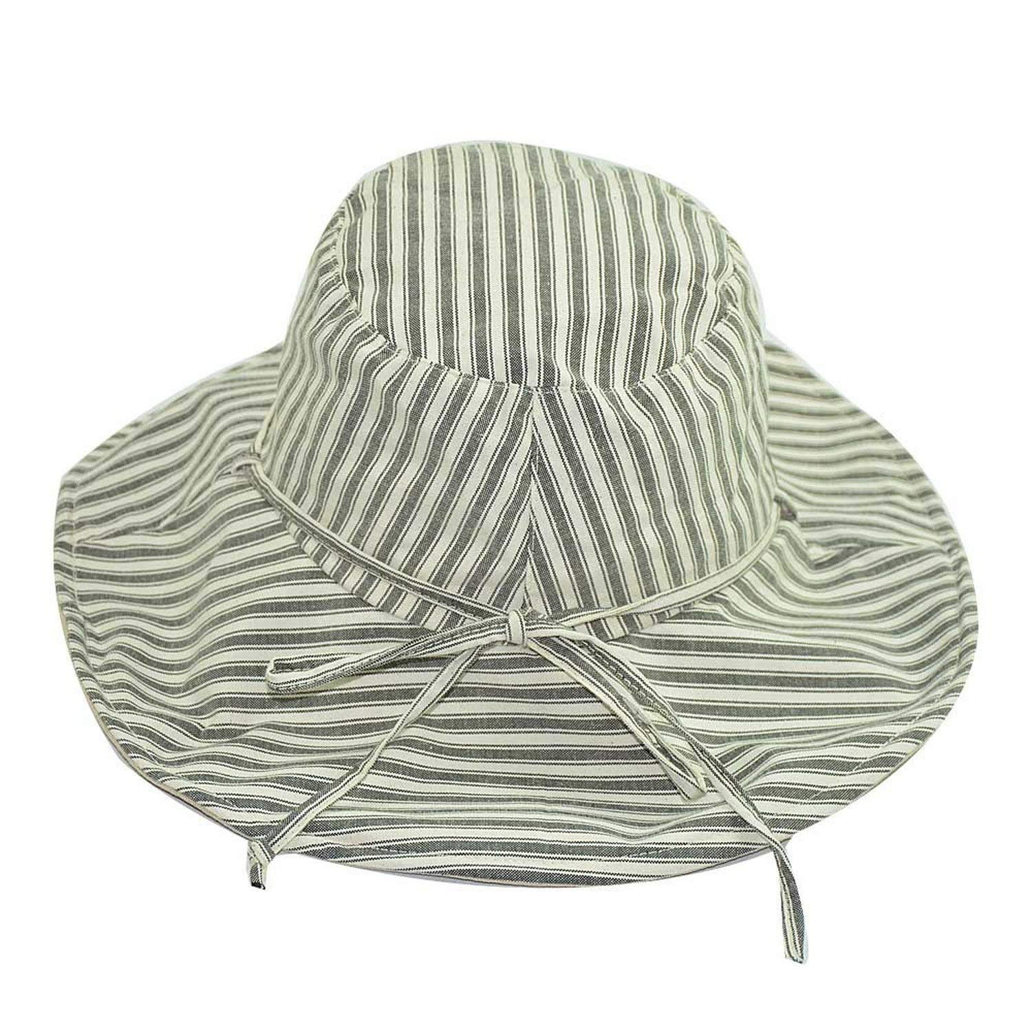 3c169b22f9042 Get Quotations · Striped fisherman hat Summer Sun visor Hat Ms. Bow Outdoor  Outing Beach Sun Hat