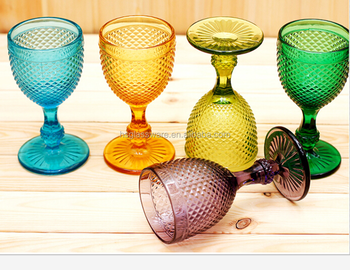 Cup Colored Bottle Beach Embossed Vintage Goblet Pressed Etched Wine Glass Wholesale