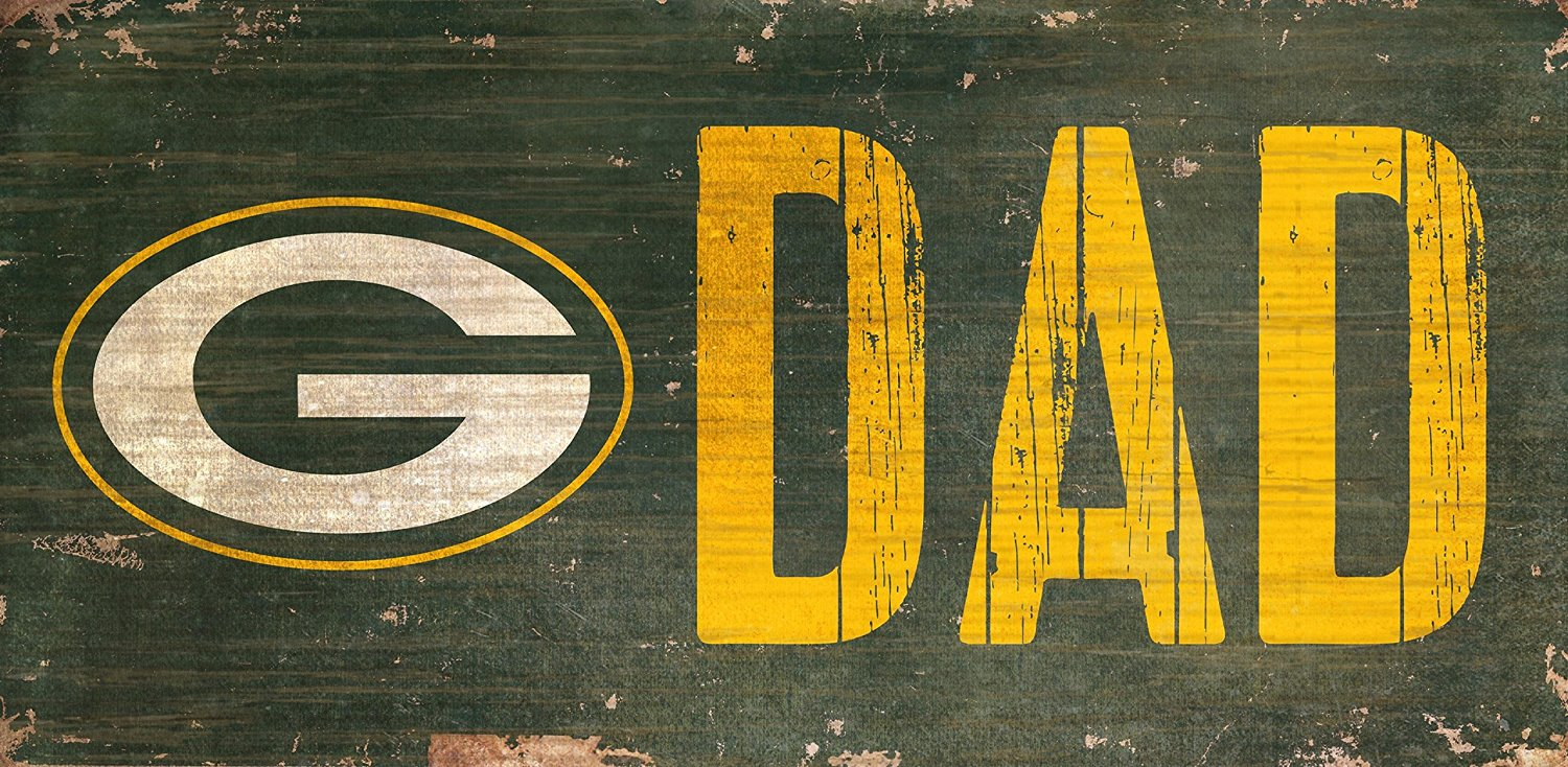 "Green Bay Packers Dad 12"" x 6"" Distressed Vintage Wood Sign"