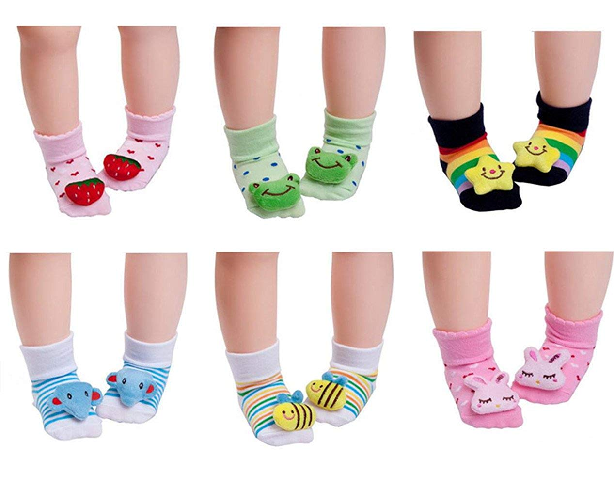 Baby Socks unisex 6-Pack Cute of 3D Cartoon Animal Anti-Skid baby Socks