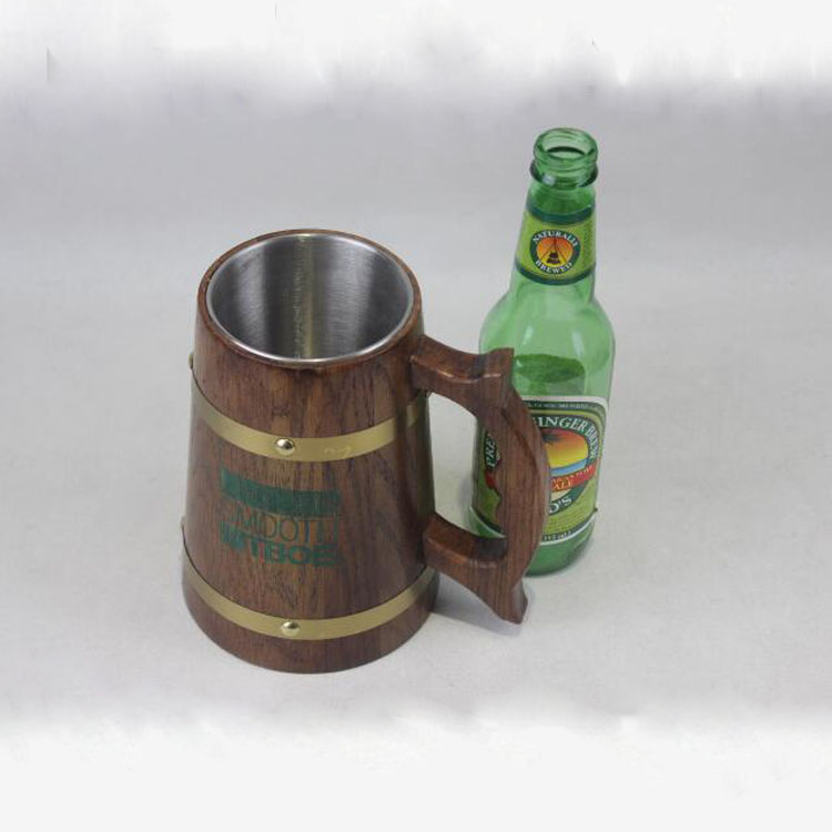 Handmade Beer Mug Oak Wood Stainless Steel Cup Oak Wood Tankard