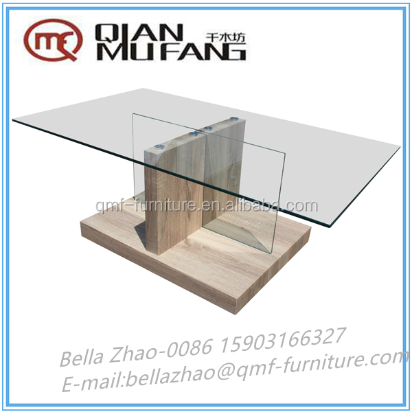 cheap price mdf base crossed glass coffee table good market 2016