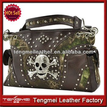 Camouflage Leather Skull Rhinestone Handbag Concealed Carry Purses Western Lady Tote Bags