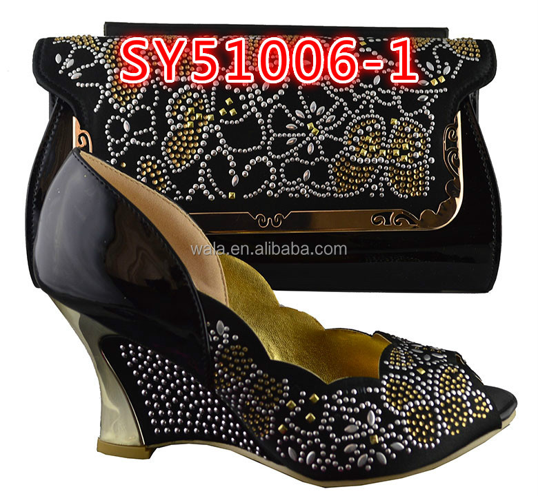 1 shoes and italian SY51006 wedge ladies and wedding set party matching Black bag shoes handbag for PZqxpnv1z