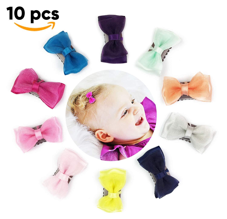 2d1d225485bab Get Quotations · Baby Wisp 10 pcs Mini Satin Organza Tuxedo Tiny Hair Bows  Baby Girls Fine Hair Infant