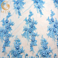 2019 China Supplier Wholesale Haute Couture French Lace 3D Beaded With Pearls Embroidery Lace Fabric