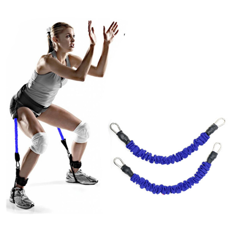 Fitness Latex Tubing Leg Resistance Bands Vertical Jump Rope Trainer With Wrist Belt And Ankle Straps, Blue;red;black;yellow;green