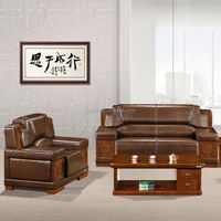 2015 Simple Wooden Leather guangzhou luxury office furniture sofa set Design (SJ5096H)