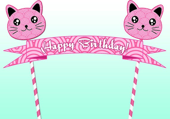 Cat PRINTABLE CAKE TOPPER And Happy Birthday Banner