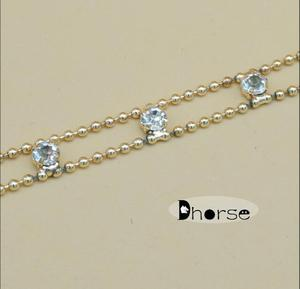 8 mm 100% gold beads clear crystal chain diamante chain wholesale rhinestone trim for garment