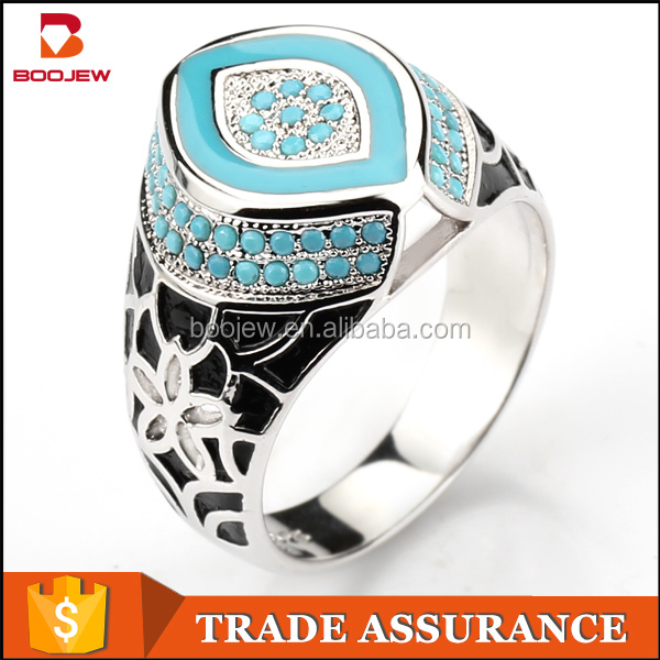 Meilong factory turquoise stone men signet ring new model antique designs micro pave black zircon rings