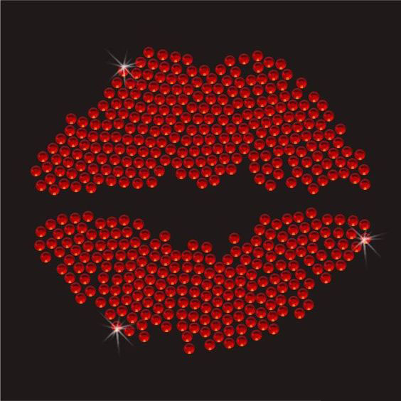 adb3f9c02 Custom Bling Sparkly Red lip Rhinestone Transfer Motif Iron On T-shirt For  Wholesale