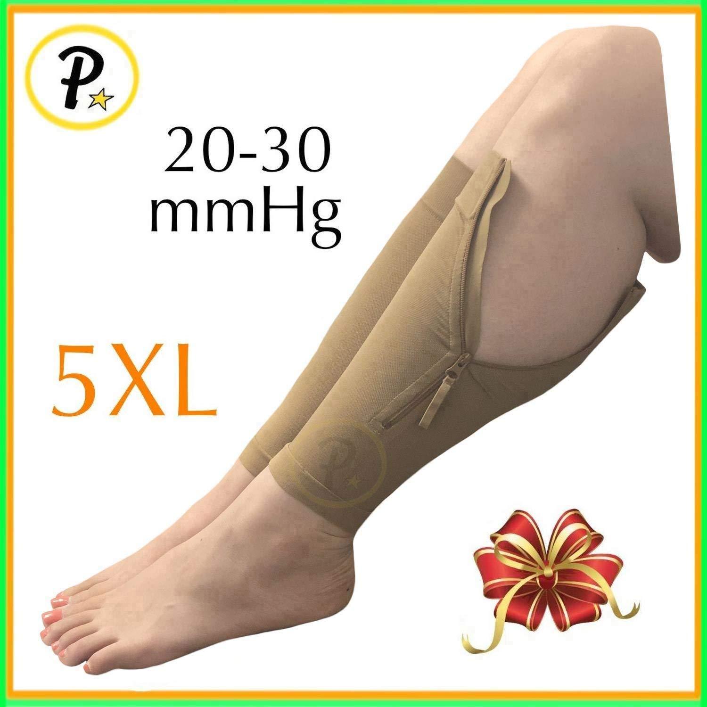 Presadee New Big Tall Calf Sleeve with Zipper 20-30 mmHg Compression Extra Wide Shin Energize Leg Swelling Circulation (Beige, 5XL)