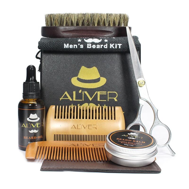 Best design 6 Items Set Beard Brush Oil Balm Comb Beard Grooming Kit For Men, Picture