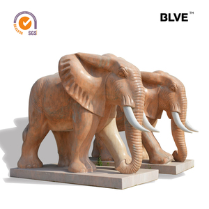 cut and polish large outdoor decorative sunset red marble animal elephant statue MASL-022