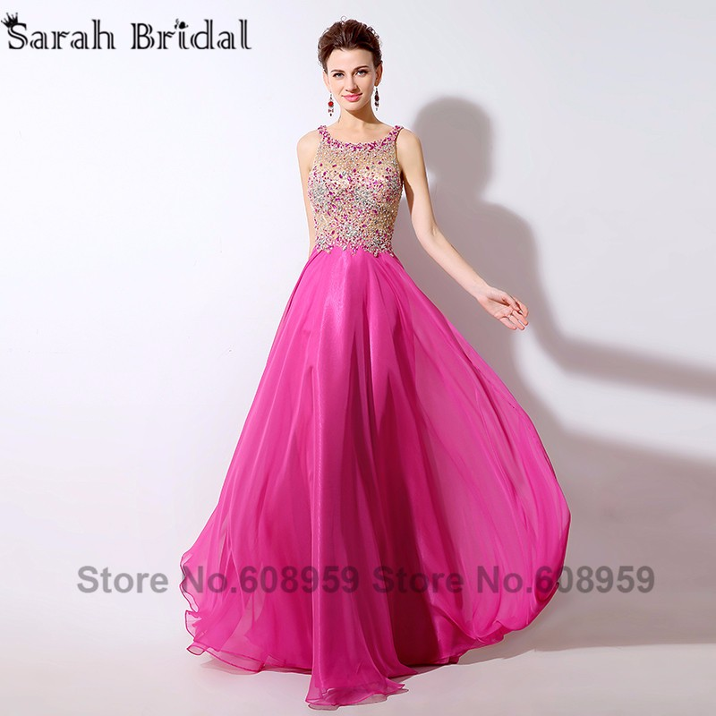 89da09cb42a1d Sexy Illusion Hot Pink Prom Dresses Crystal Beaded Sequins Evening Gowns  Formal Dress Real Sample Rode De Soiree LSX043