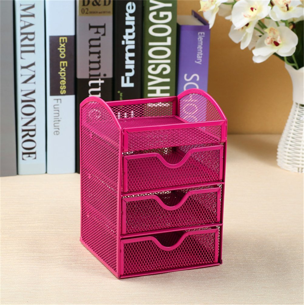 Get Quotations · Yiliag Simple Metal Desk Storage Tray Mesh Office Supplies  Organizer With 3 Drawer Pink
