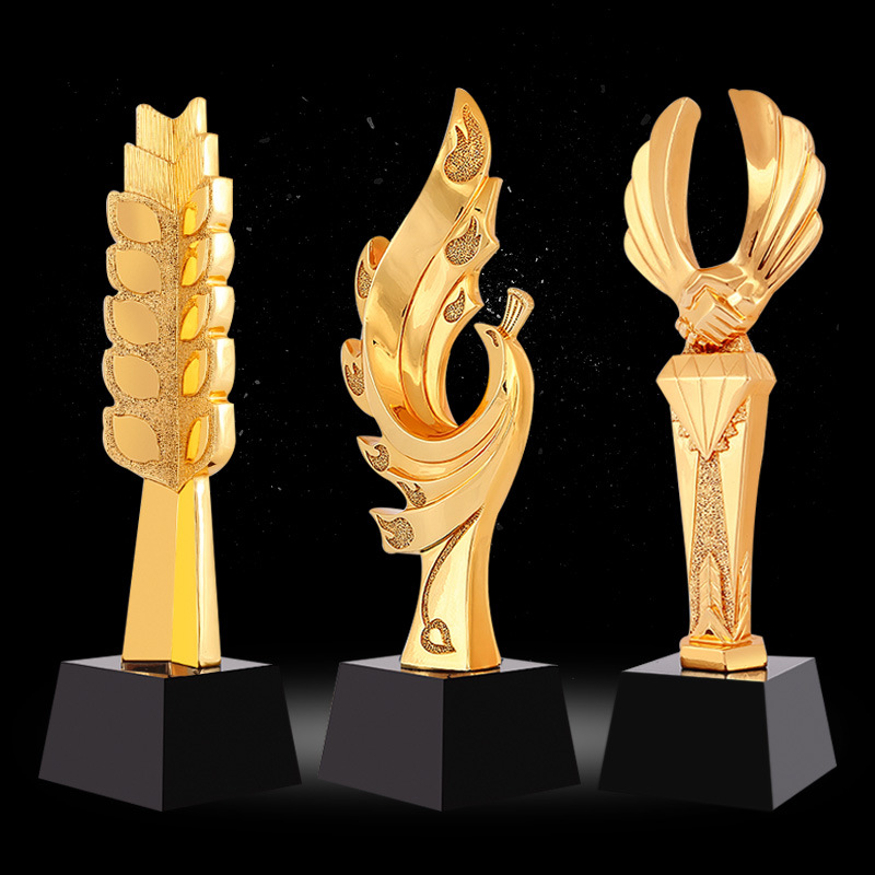 Promotional design custom gold cheap metal/resin trophy for souvenir