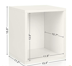 Eco Stackable Storage Cube Plus and Cubby Organizer, White (made from pine wood )
