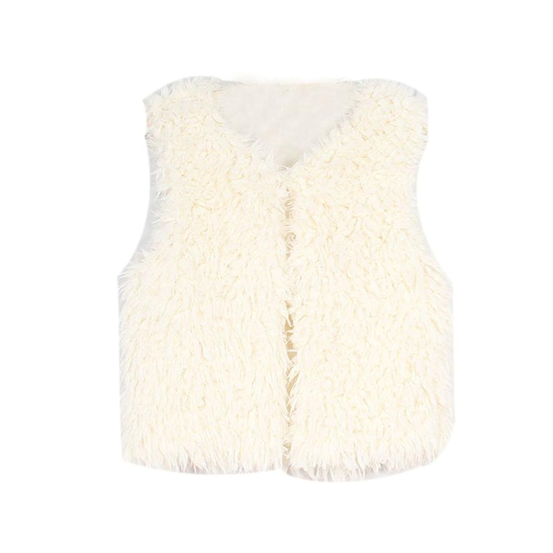 Fabal Baby Girls Faux Fur Waistcoats Kids Girls Flower Outwear Princess Warm Vests Clothes