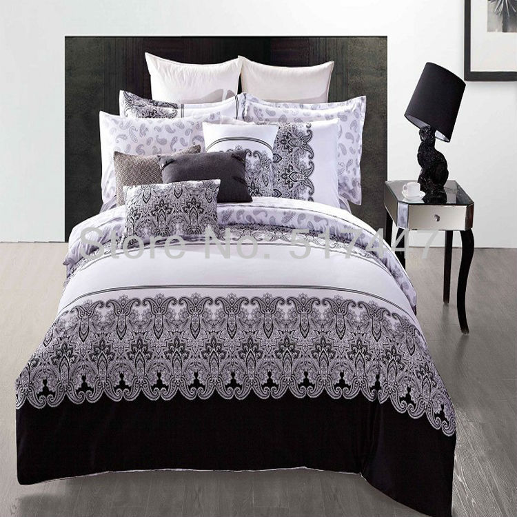 Wholesale Luxury Black And White Bedding Sets 100% Cotton Duvet Bed Quilt  Covers Comforters Bedclothes For King Queen Full Size Sheet Gray Twin ...