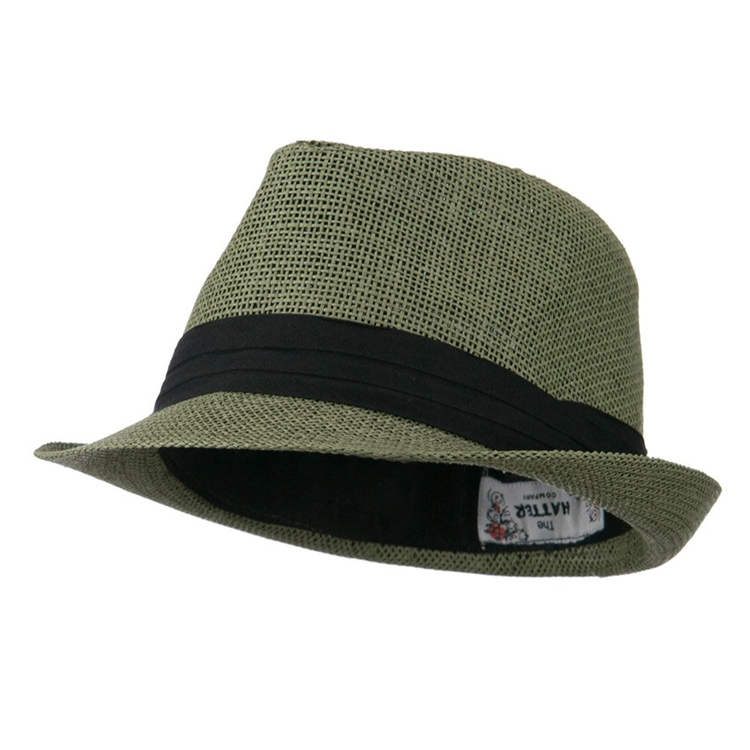 b871867a76b68 Get Quotations · Pleated Hat Band Straw Fedora Hat - Olive W18S37F