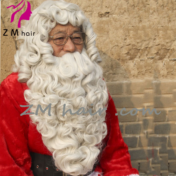 Wholesale Long wavy christmas santa claus wig with beard for cosplay festival hair free shipping