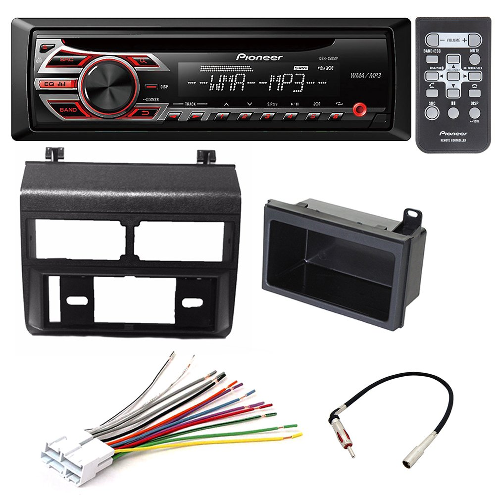 PIONEER DEH-150MP SINGLE-DIN CAR STEREO CAR STEREO RADIO DASH INSTALLATION MOUNTING KIT+ ADD ON STORAGE POCKET+ WIRING HARNESS + RADIO ANTENNA ADAPTER FOR SELECT CHEVROLET AND GMC VEHICLES