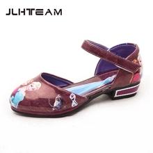 Children Snow Queen Flat Shoes Princess Elsa Anna Shoes Kids PU Leather Shoes Princess Dancing Shoes