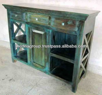 Antique Distressed Green Turquoise Coffee Table View