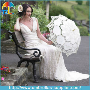 Chinese Cute Mini White Cotton Lace Parasol Wedding Umbrella