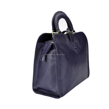 Custom made Branded Large Genuine Leather Navy Blue Wine O Ladies Hand Bag for Men