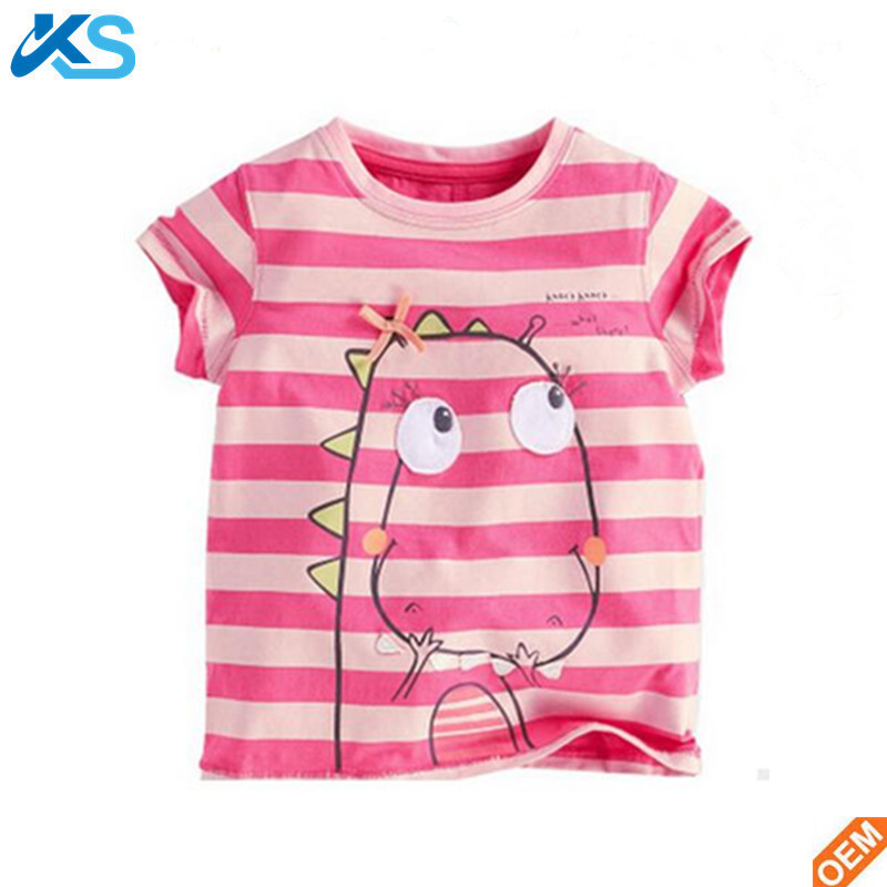 kids fashion t shirt for summer baby 100%cotton girl t shirt tee