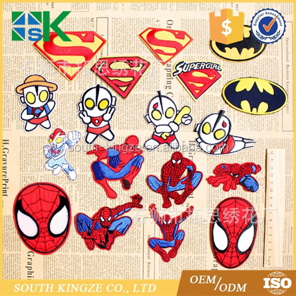 18pcs/set Superman Spiderman cartoon clothes patch 3d patch embroidery iron-on appliques Cloth Patch