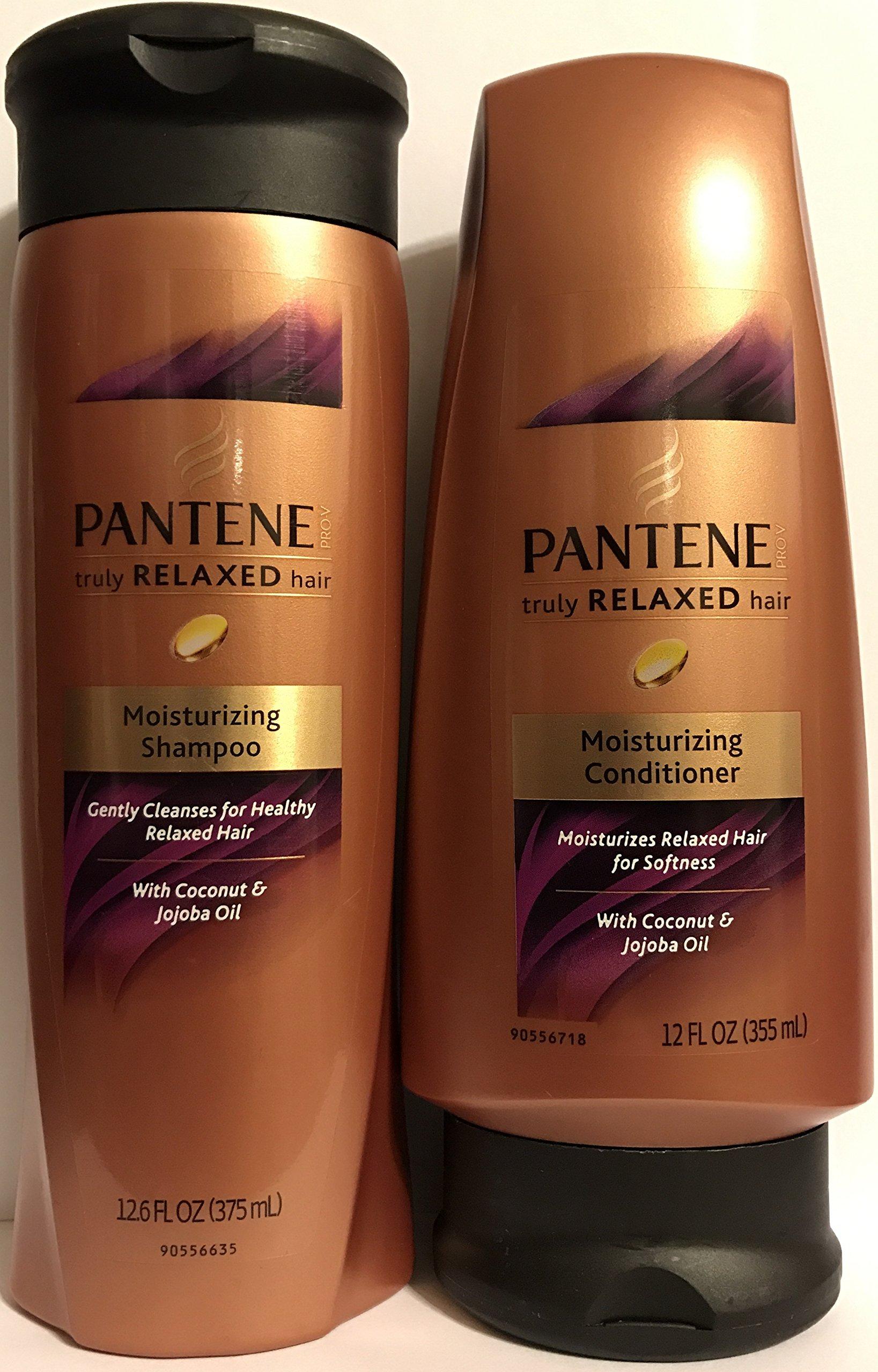 Pantene Truly Relaxed Hair - Moisturizing Shampoo & Conditioner Set - Net Wt. 12.6 FL OZ (Shampoo) & Net Wt. 12 FL OZ (Conditioner) - One Set