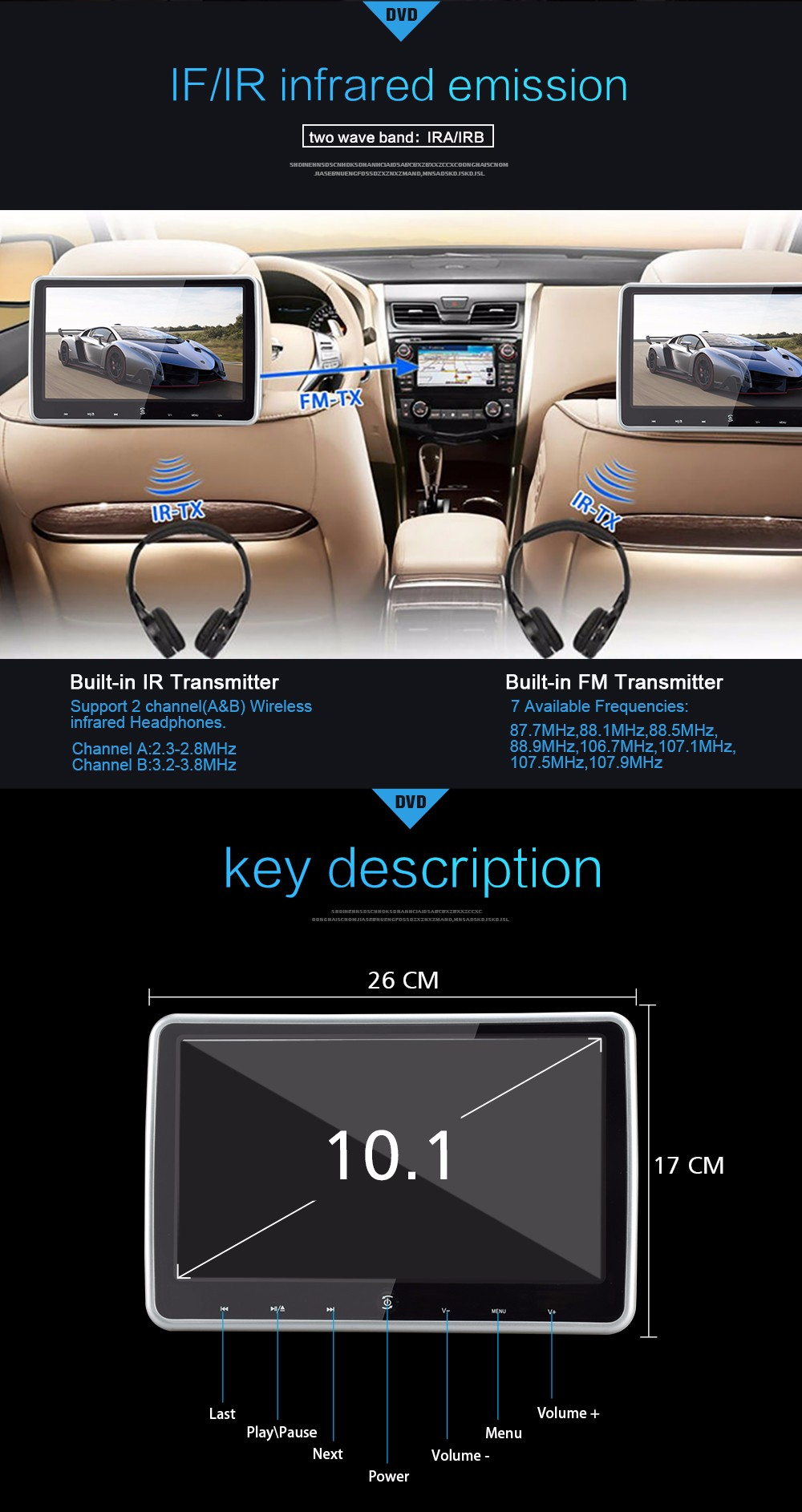 portable clip on headrest sony loader car dvd player with HDMI