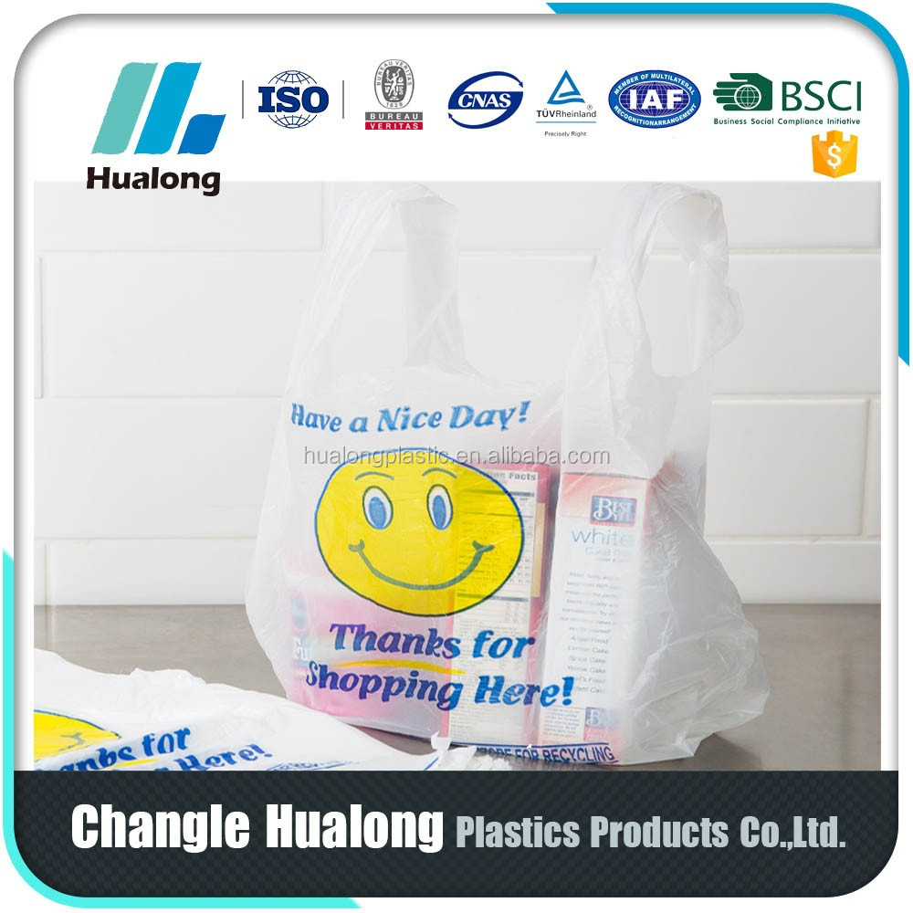 Printed recycle Plastic Hdpe T-shirt Bag /vest Bag/flat Bags On Roll