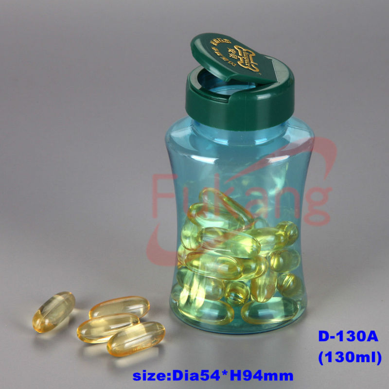 130ml plastic pill oval bottles with flip top cap,