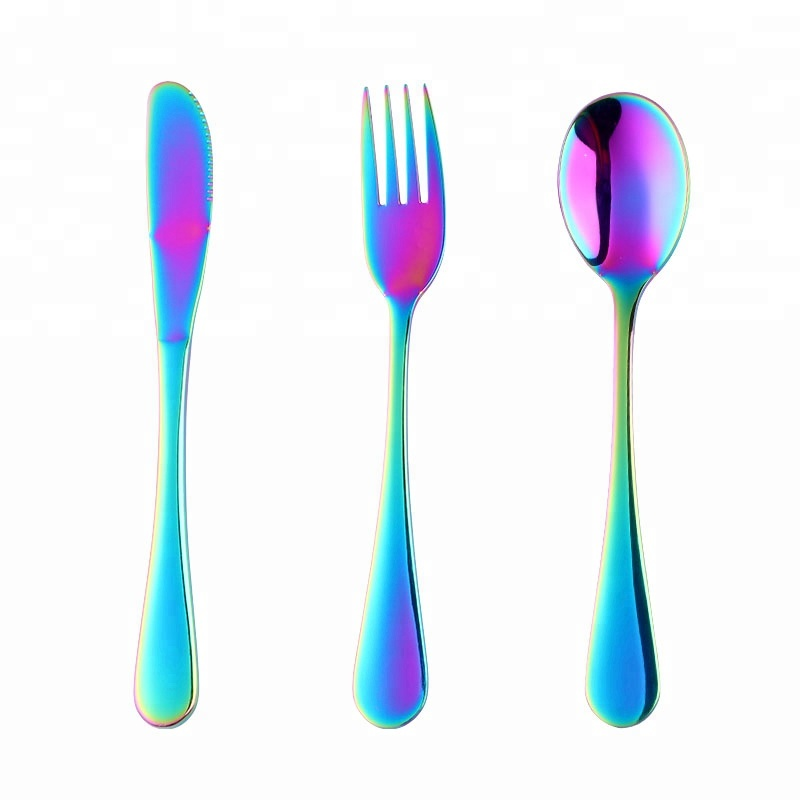 Alibaba.com / Portable stainless steel kids cutlery set with rainbow gold plate