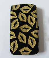 Fashion Gold Embossed Lips Pu Clip Clutch Wallet Purse Credit Card Cash Phone Purse Wallet Case Clip Money Purse Wallet