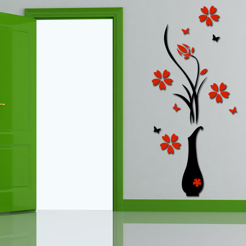 Free Shipping 3D Plum Vase Wall Stickers home decor creative wall decals NG4S