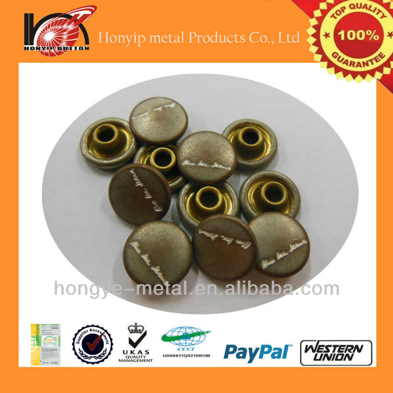 solid pop custom 8mm metal decorative rivets with colored logo
