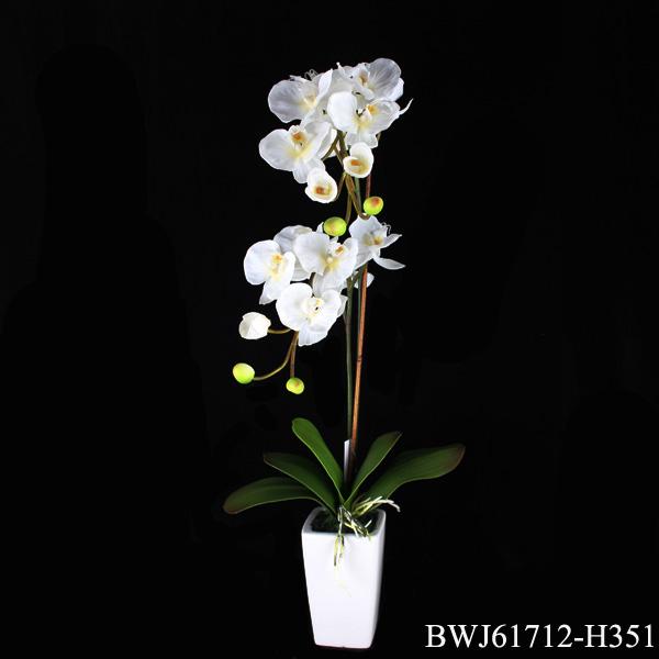 Orqu deas blancas flores artificiales con maceta flores y for Orquideas artificiales